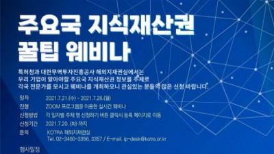 특허청, 주요국 지재권 제도·분쟁대응 소개 웨비나 개최