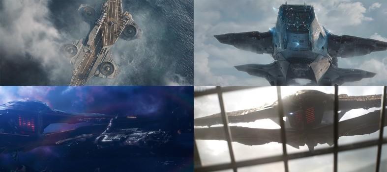 영화 '어벤져스' 헬리캐리어(위 2장)와 '어벤져스: 엔드게임' 타노스 우주함선 이미지. 사진=마블 스튜디오 유튜브