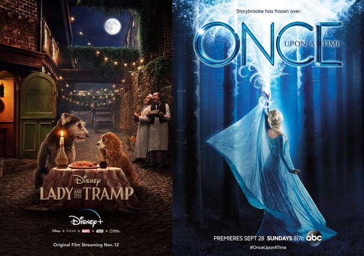 디즈니플러스 실사화 영화 '레이디 앤 트램프'(왼쪽)과 '원스 어폰 어 타임' 포스터. 사진=월트디즈니컴퍼니, abc