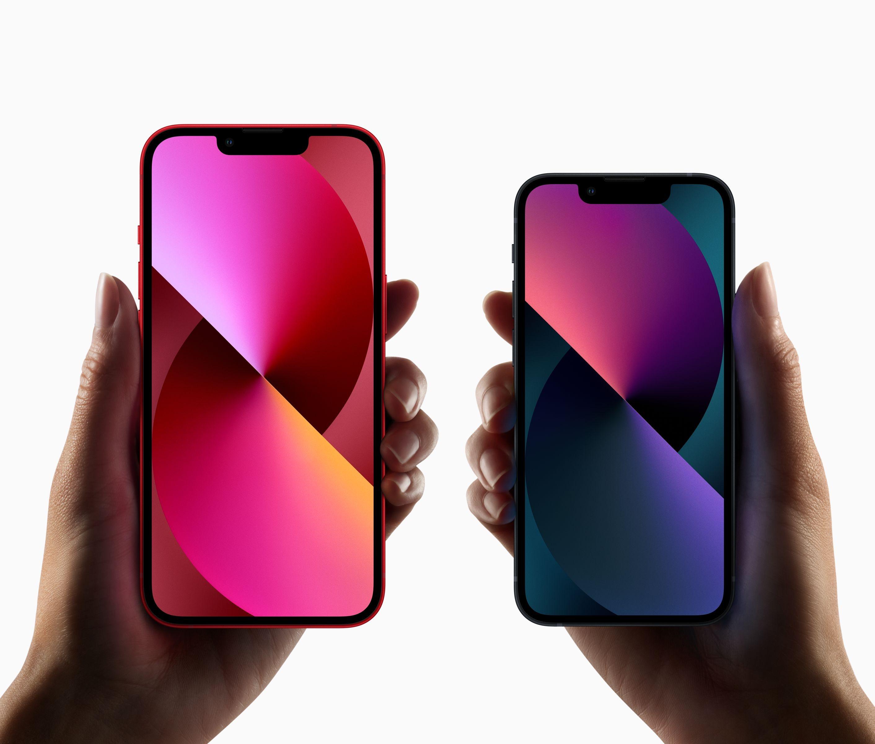 왼쪽 아이폰13, 오른쪽 아이폰13 미니. 사진=애플