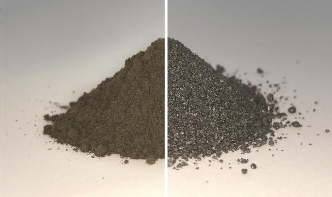 달 토양을 모사한 광물 혼합물(왼쪽)과 산소가 추출되고 남은 금속 혼합물. 사진=University of Glasgow