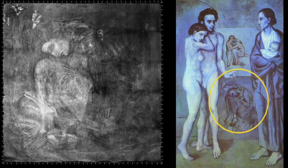 '맹인의 식사' 아래 그려진 여성 스케치(왼쪽)와 피카소 '인생(La Vie, 1903)' 속 웅크린 여성의 그림. 사진=The Met