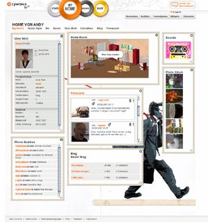 3D 미니미를 도입한 독일 싸이월드 사이트.
