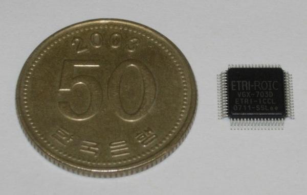 ETRI가 개발한 터치센서용 칩(오른쪽)을 50원짜리 동전과 비교한 모습