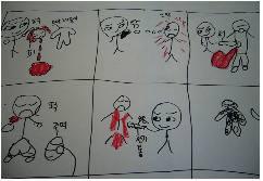 권장희 놀이미디어교육센터 소장이 제시한 폭력적이고 공격적인 아이의 그림 예시