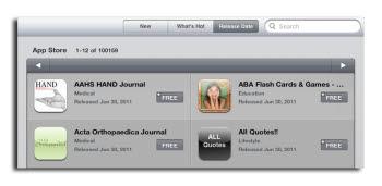 애플 앱스토어에 등록된 아이패드 전용 앱이 10만개를 넘어섰다. 애플 앱스토어에서 `Featured` 섹션에서 Release Date를 선택하면 현재 등록된 아이패드 전용 앱 숫자를 볼 수 있다.