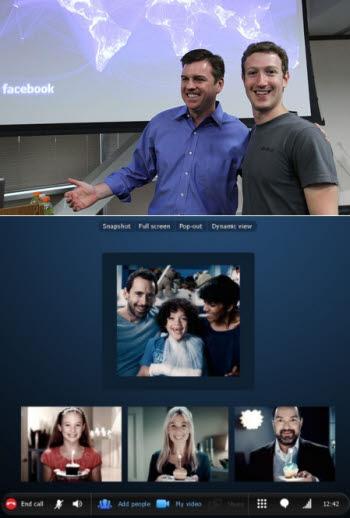 페이스북과 스카이프가 협력해 페이스북 내 스카이프 영상전화 기능을 발표했다.  (사진 위)스카이프 CEO인 토니 베이츠(좌)와 페이스북 CEO 마크 저커버그 (사진 아래) 페이스북에서 원클릭으로 스카이프 영상전화를 사용할 수 있다.