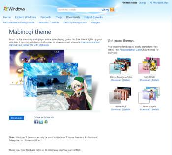 넥슨은 14일 자사의 인기 온라인 게임 마비노기가 윈도우7 공식 사이트 테마로 지정됐다고 밝혔다.