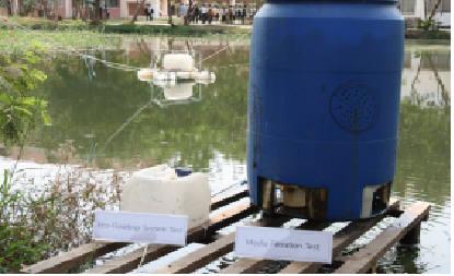 `한-캄보디아 적정과학기술센터` 인근에서 시험 가동중인 에코플로팅시스템(Eco-Floating System)