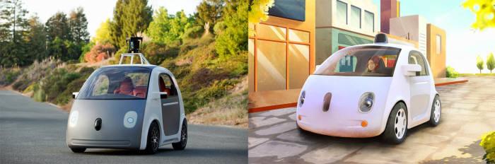 구글이 지난 5월 선보인 자율주행차 시제품의 실제 모습(왼쪽)과 가상이미지.