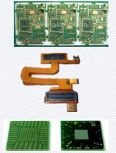 (위에서부터) PCB와 FPCB, 반도체 기판