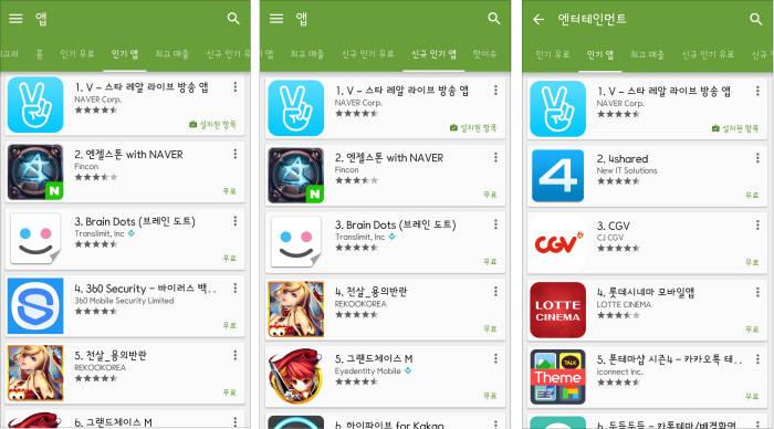네이버 동영상 서비스 `V` 구글플레이 1위 올라
