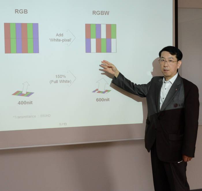 김현진 LG전자 HE사업본부 TV상품기획FD TV시장상품기획1팀 전문위원이 13일 서울 여의도동 LG트윈타워에서 RGBW 서브픽셀이 적용된 M플러스 패널 개념을 설명하고 있다. 사진=LG전자