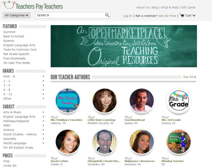 티처스스페이티처스닷컴(TeachersPayTeachers.com) 홈페이지.