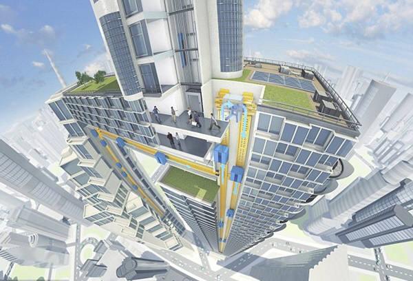 오는 2045년이 되면 초고층빌딩에 걸맞은 자기부상 엘리베이터가 사용될 전망이다. 사진=티센크루프
