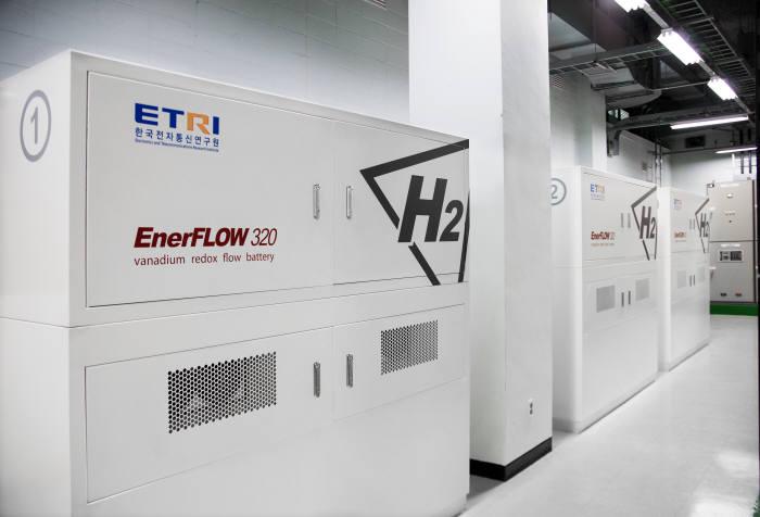 에이치투가 ETRI에 설치한 바나듐 레독스 플로우 배터리 기반 ESS.