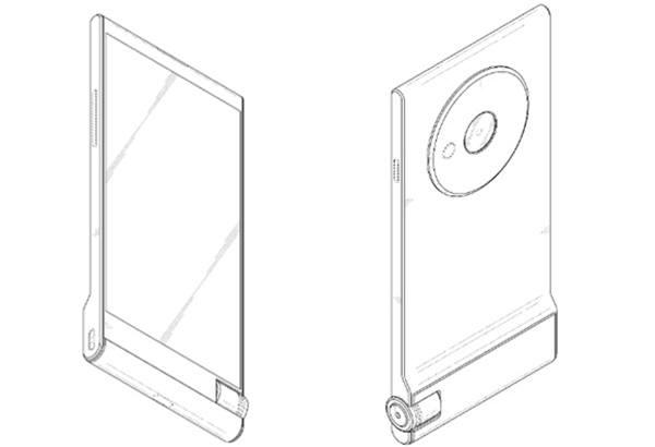 삼성의 특허받은 스마트폰 디자인. 전면에는 버튼이 없고 후면에는 커다란 렌즈교환식으로 보이는 카메라와 그립이 보인다. 사진=KIPRIS/갤럭시클럽