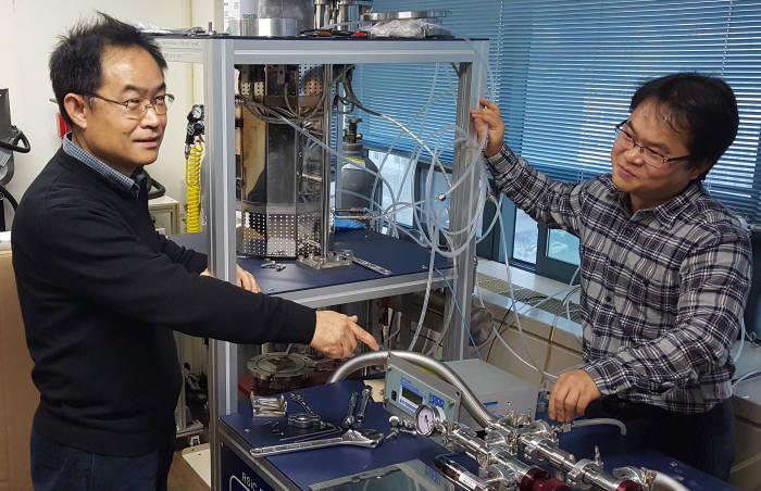 김재우 내일테크놀로지 사장(왼쪽)과 김상인 이사가 BNNT 성능 네스트 방법에 대해 논의하고 있다.