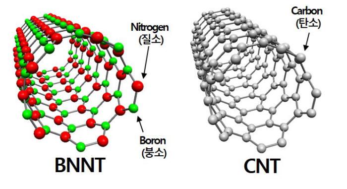 BNNT와 CNT 구조 이미지 비교