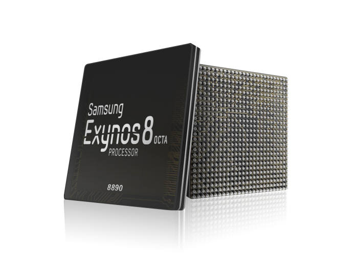 14나노 공정이 적용된 엑시노스 8 옥타. 10나노 공정으로 생산된 엑시노스 칩은 9 시리즈로 명명될 가능성이 높다.