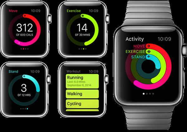 걸음수, 칼로리 등 활동량을 측정할 수 있는 애플워치(자료: 애플)