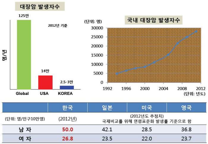 대장암 발생현황(제공 국가암정보센터)
