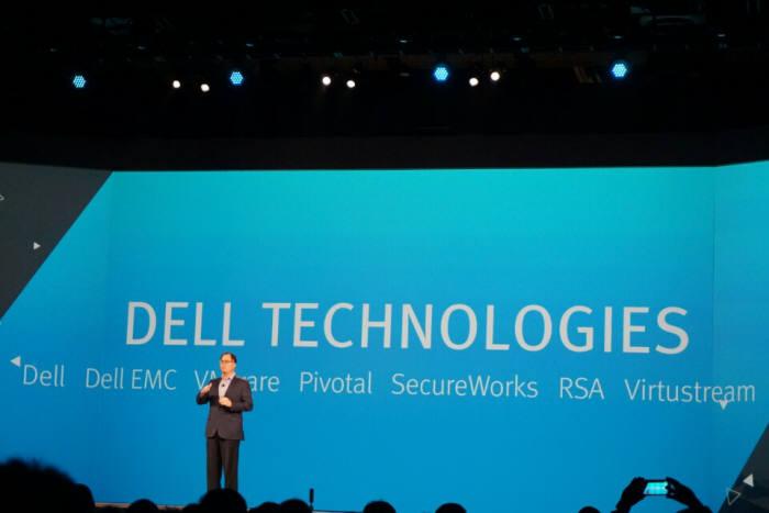 2일(현지시간)미국 라스베이거스에서 열린 `EMC월드 2016`에서 마이클 델 델 회장이 통합 회사명 `델테크놀로지스`를 깜짝 발표했다.