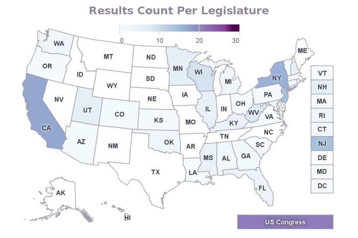 미국 법률 분석 플랫폼 피스컬노트를 통해 확인한 미국 내 드론 관련 입법 현황, 미국 45개 주에서 올해 1월 1일부터 5월 17일까지 약 160여개의 드론 관련 법안이 발의되거나 제정됐다. 색깔이 짙을수록 입법이 활발한 지역이다.