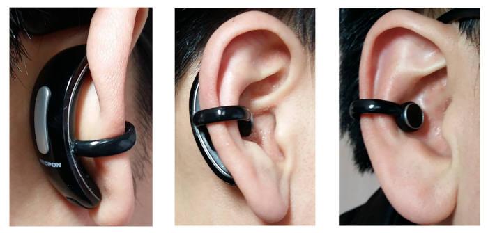 스마트 블루투스 이어폰 실제 착용 모습