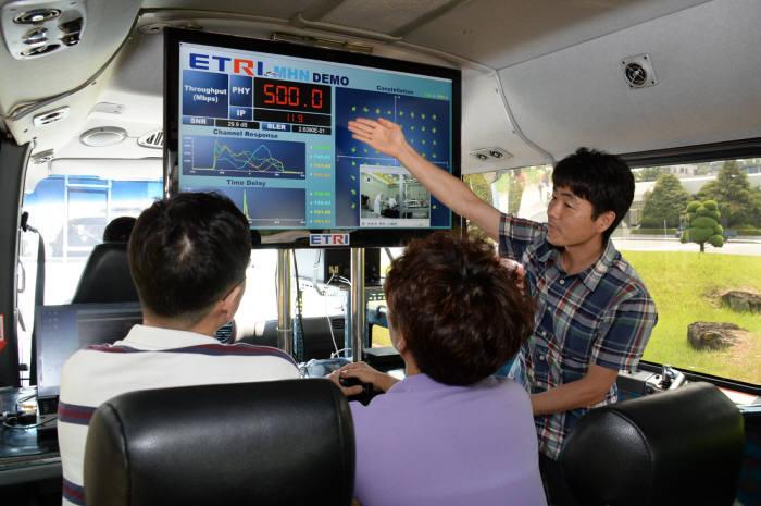 ETRI 연구원들이 실시간 동영상과 신호 품질 표기를 바라보며 버스에서 이동시연하는 모습. 모니터에 보이는 500이라는 숫자가 Mbps급 속도를 나타낸다.