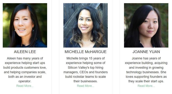 카우보이벤처스는 설립자인 에일린 리(왼쪽)을 비롯해 모두 여성 파트너로 이뤄진 벤처캐피털(VC)이다. 다른 파트너도 실리콘밸리 기반 기업 경영과 금융 투자 영역에서 경험을 쌓아왔다. <사진 출처: 카우보이벤처스(cowboy.vc)>