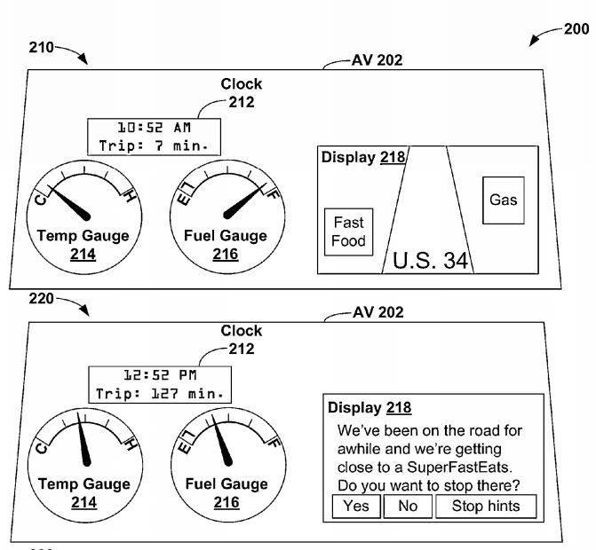 구글이 미국 특허청(USPTO)에 등록한 `자율차용 위치기반 알림 서비스 어플리케이션` 특허(US 8,880,270)는 내비게이션 시스템을 이용해 인접 주유소, 식당 등 정보를 제공한다. / 자료: USPTO