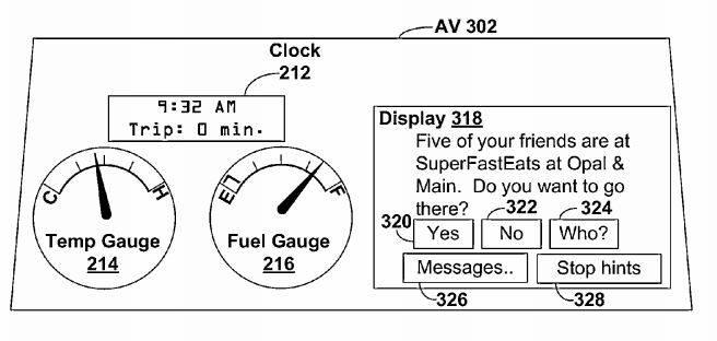 `자율차용 위치기반 알림 서비스 어플리케이션` 특허(US 8,880,270)의 `meetup app`은 가까이 있는 친구를 찾아 만남을 주선하기도 한다. / 자료: USPTO