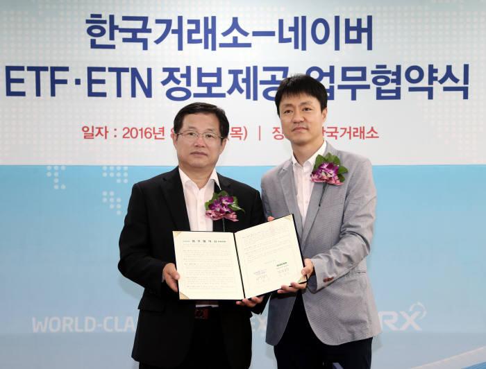 한국거래소는 25일 서울사옥에서 네이버와 ETF시장 활성화를 위한 업무협약을 체결했다, 이용국 한국거래소 유가증권시장본부장보(왼쪽)와 유봉석 네이버 이사가 기념촬영했다.