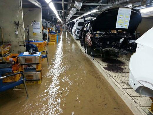 태풍 `차바` 피해로 침수된 현대자동차 울산공장 2공장 (제공=민주노총 울산본부)