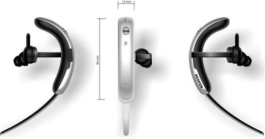 차이나 데일리 이노베이션 어워드에서 최고유망전자제품상을 받은 네오폰의 귀걸이 타입 블루투스 이어폰 제품.