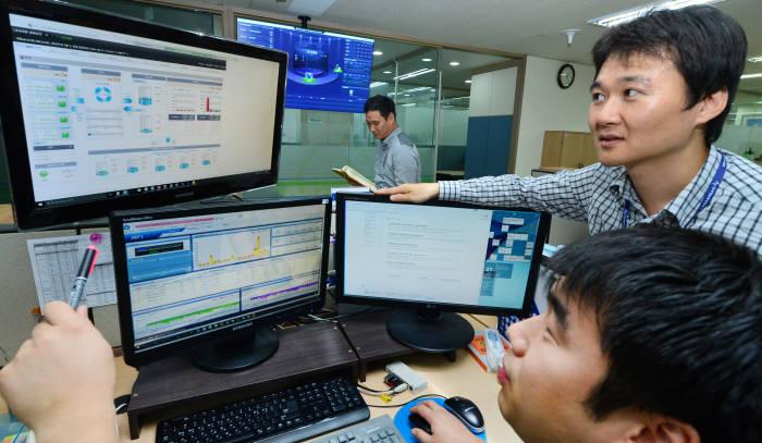 미래창조과학부가 실사용자와 명의자가 다른 휴대폰 정리 작업을 진행 중이다. 정보통신진흥협회(KAIT)에서 부정가입방지시스템을 점검하는 모습. 윤성혁기자 shyoon@etnews.com