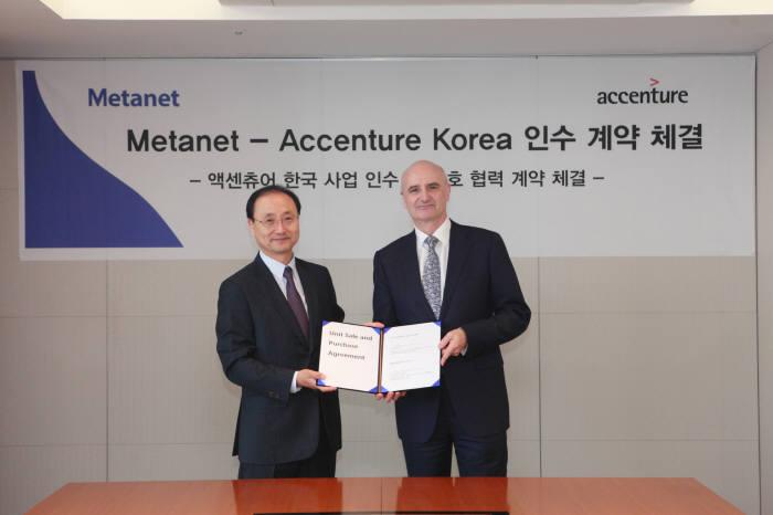 최영상 메타넷 회장(왼쪽)과 잭 퍼시 액센츄어 한국법인 회장이 계약서를 들어 보이고 있다.