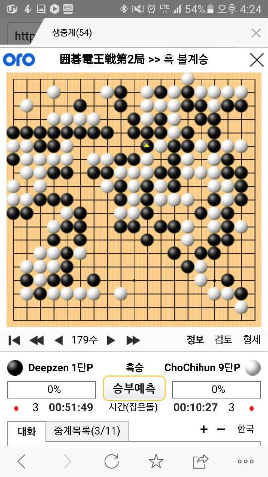 조치훈 9단과 딥젠고 대국 기보(사이버오로 179수, 흑 불계승)