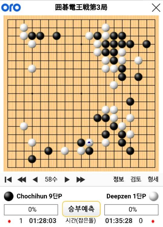 조치훈 9단과 딥젠고 제3국 58수 기보(사이버오로).