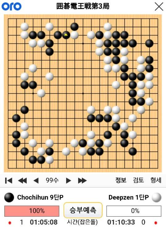 조치훈 9단과 딥젠고 제3국 99수 기보(사이버오로).
