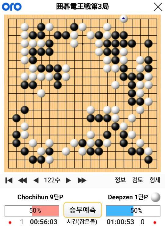 조치훈 9단과 딥젠고 제3국 122수 기보(사이버오로).