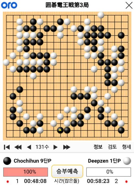 조치훈 9단과 딥젠고 제3국 131수 기보(사이버오로).