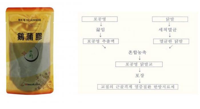 (왼쪽부터)미싹의 계포교, `근골격계 염증질환 개선 한방조성물의 제조방법` 특허(등록번호: 10-1428363) / 자료:키프리스