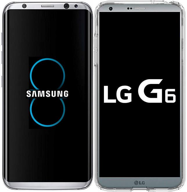 외신을 통해 유출된 갤럭시S8(왼쪽)과 G6 스마트폰 이미지.