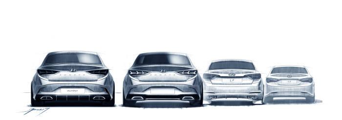 좌측부터 `쏘나타 페이스리프트 터보모델`, `쏘나타 페이스리프트 기본형`, `기존 쏘나타(LF)`, `쏘나타(YF)` 후면부 렌더링 (제공=현대자동차)