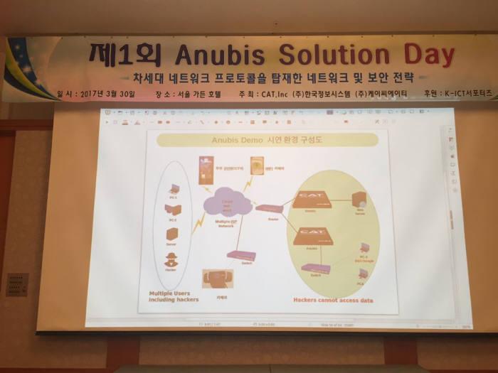 미국 CAT사 한국 지사인 케이씨에이티(KCAT)와 한국정보시스템(대표 전원배)는 30일 공공기관·기업 정보보안 담당자 등을 초청해 차세대 네트워크 보안 장비 `에너비스(ANUBIS)`를 시연했다.