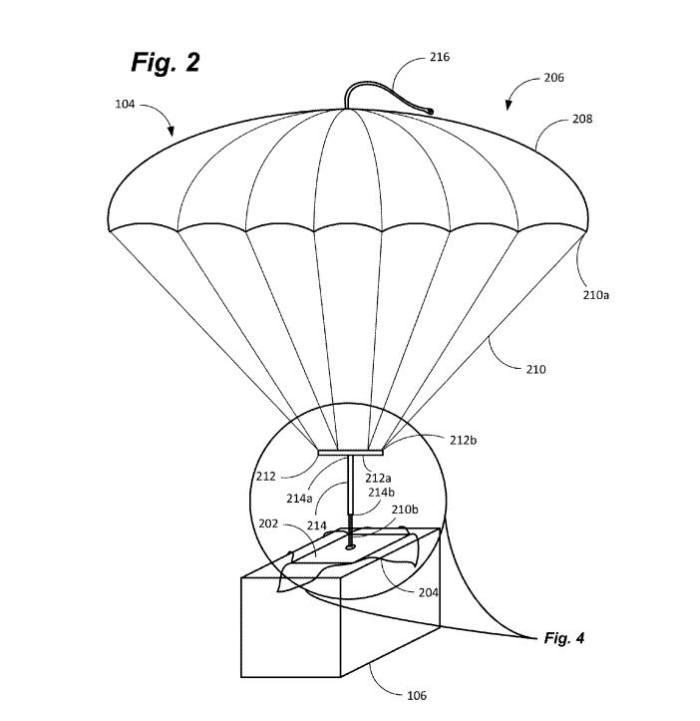 아마존이 등록한 낙하산 송장 특허(US9663234) 도면 / 자료: 미국 특허청(USPTO)