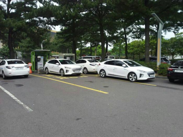 제주 중문단지 국제컨벤션센터 충전소에 전기차 여러대가 충전을 위해 대기 중인 모습.