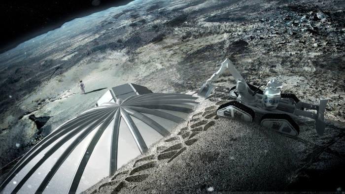 그림1. 유럽우주국에서 3D 프린터를 이용해 만드려고 계획한 달 기지 상상도 (출처: ESA)